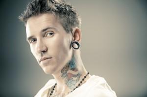 tunnel gauged earrings man