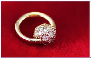 Diamond Pave Gold Captive Bead Ring