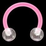 Pink Bioplast Flexible Acrylic Circular Barbell w/ Acrylic Balls