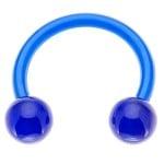 Blue Bioplast Flexible Acrylic Circular Barbell w/ Acrylic Balls