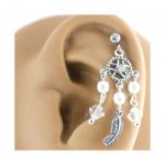 CZ & Faux Pearl Dreamcatcher 925 Sterling Silver Cartilage Earring Stud