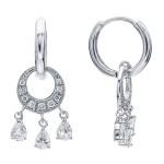 Abstract Moon & Stars CZ Dangle .925 Sterling Silver Huggie Earrings