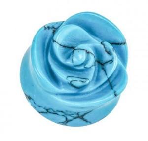 Organic Blue Turquoise Rose Double Flared Stone Plugs