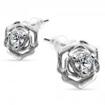 Sterling silver rose earrings