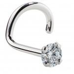 Kiwi Diamond 14K White Gold Nose Rings Twist Screw (20G& 18G)
