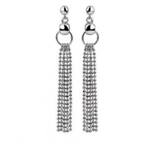 Decadent Shimmer 14K White Gold Long Dangle Earrings