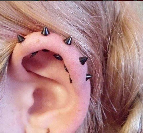 spike helix stud piercings
