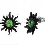 Opal Sun Black Plated Stainless Steel Stud Earrings