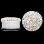 Flared Polar White Acrylic Glitter Plug