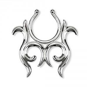 Tribal Rhodium Plated Brass Fake Clip-On Nipple Ring
