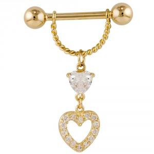 CZ Double Heart 14K Yellow Gold Dangle Nipple Ring