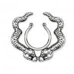 Snake Rhodium Plated Brass Fake Clip-On Nipple Ring