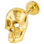 Yellow Gold Skull Labret / Lip Ring / Monroe / Tragus Stud