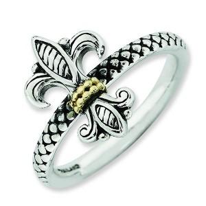 Gold antiqued Fleur de Lis ring