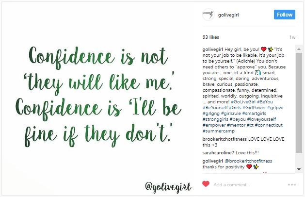Livegirl confidence quote from Instagram