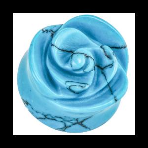 Blue Turquoise Rose Double Flared Stone Plugs
