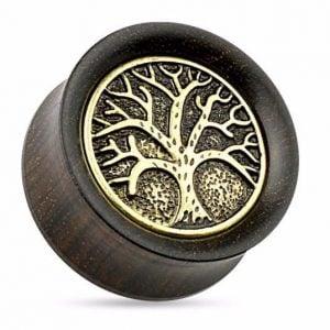 Tree of Life Gold-Tone Anodized Steel Ebony Wood Double-Flared Plugs