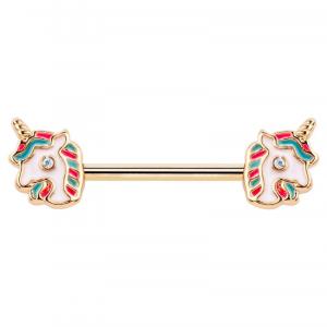 FreshTrends rainbow unicorn nipple barbell