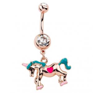 FreshTrends unicorn dangle belly ring
