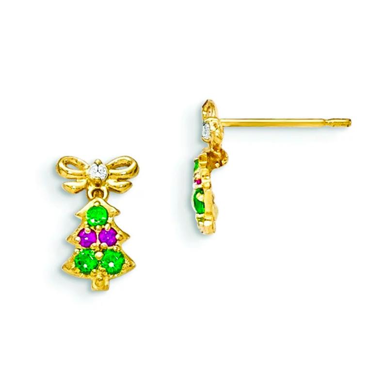 FreshTrends 14K gold Christmas tree dangle earrings