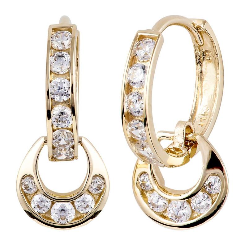 FreshTrends 14k gold dangle hoop earrings