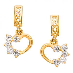FreshTrends 14k gold dangle heart earrings