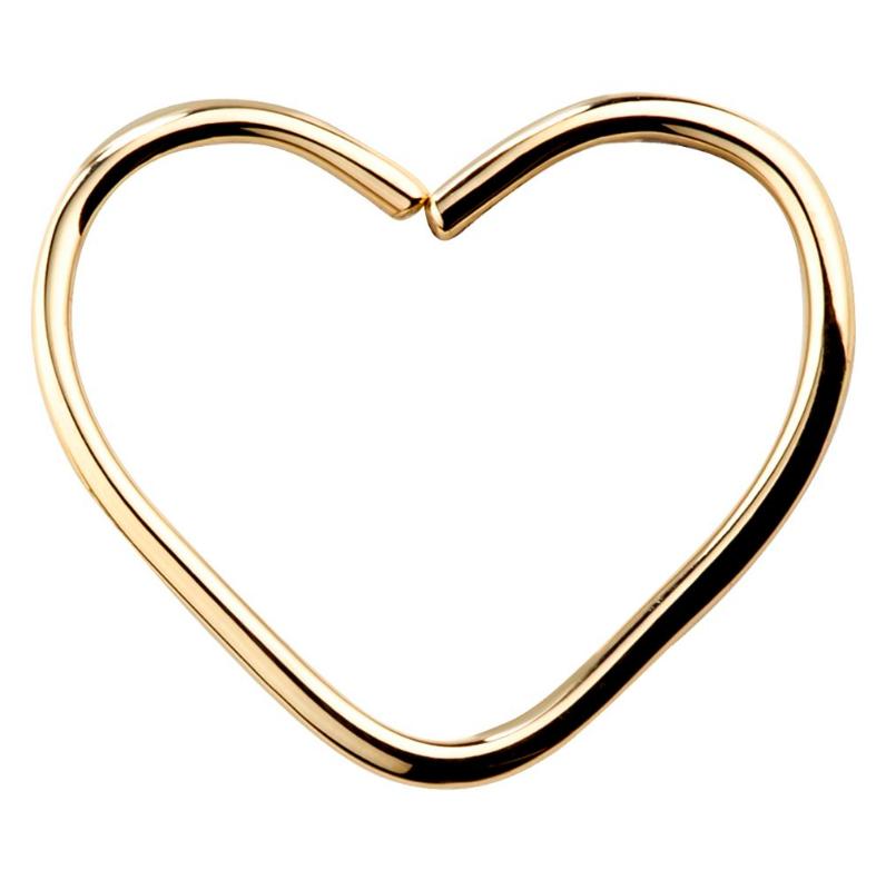 FreshTrends 14K gold seamless hoop heart lip ring