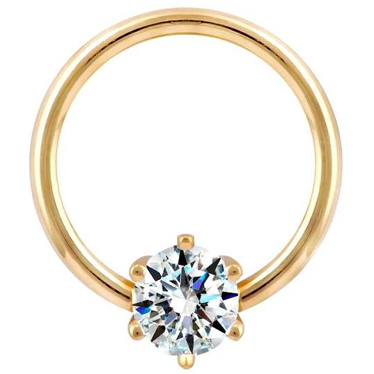 FreshTrends prong diamond captive bead ring