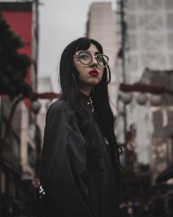 pierced woman in a city