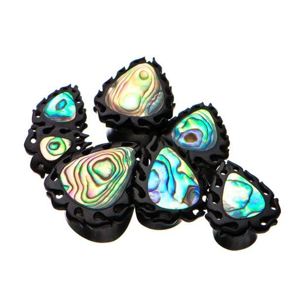 Wood and abalone shell plugs