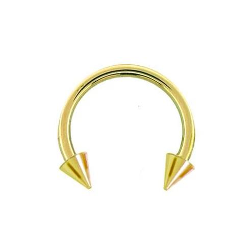 14K Gold Spike Circular Barbell