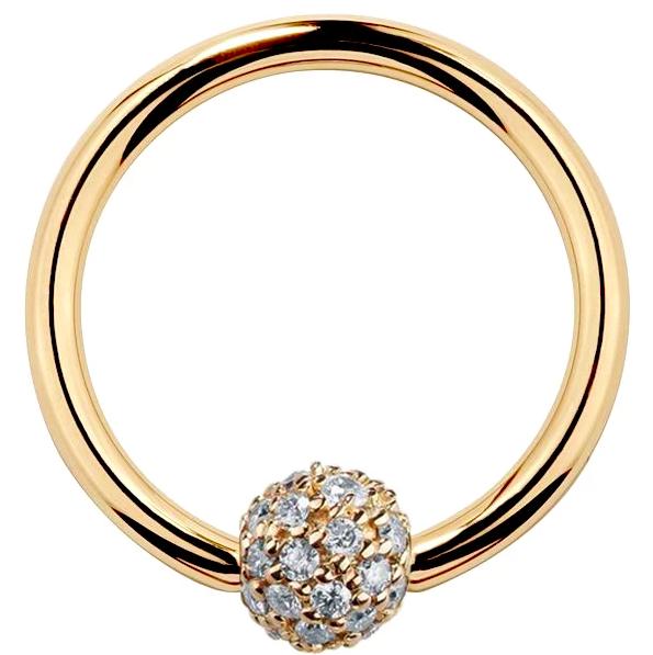 5mm Diamond Pave Ball 14K Gold Captive Bead Ring