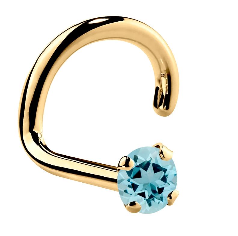 Genuine Aquamarine 14K Gold Nose Ring