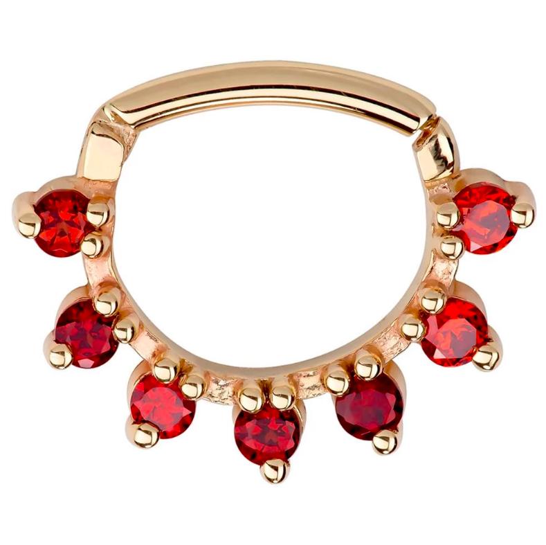Garnet Petal 14K Gold Clicker Ring