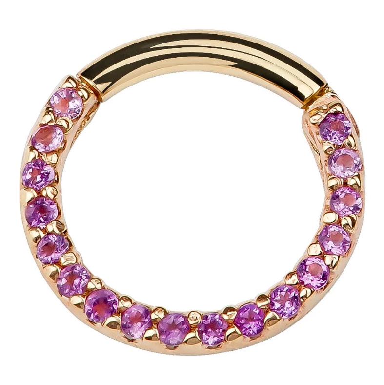 Purple CZ Pave 14K Gold Hinged Segment Clicker Ring
