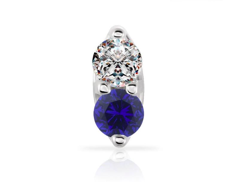Sapphire & Diamond 14K Gold Nose Ring