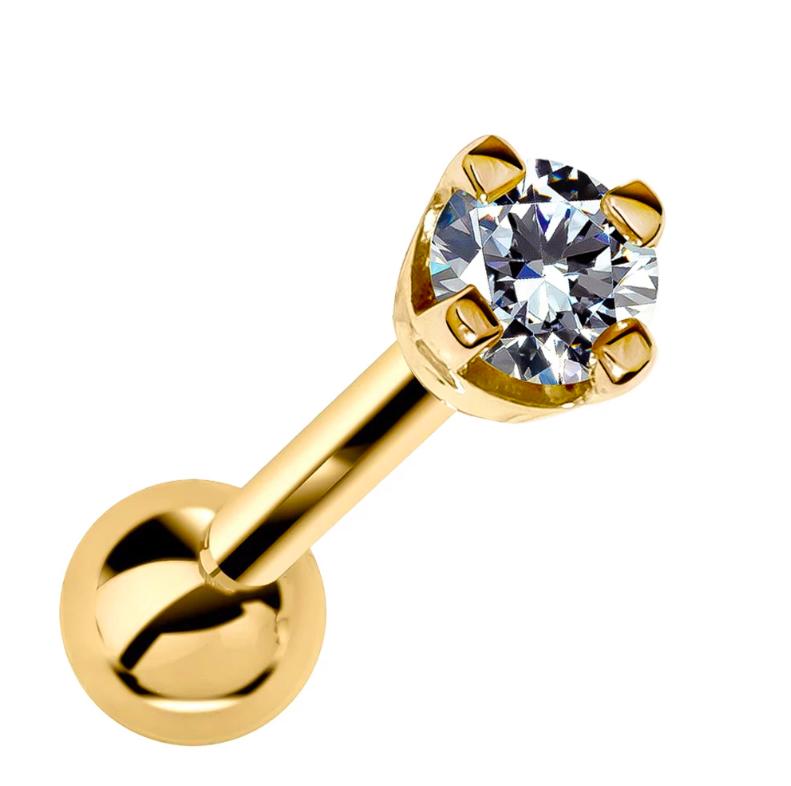 2mm Diamond High-Set Prong 14k Gold Cartilage Earring Stud