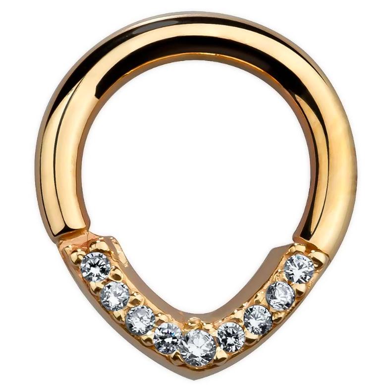 CZ Lined V-Shape 14K Gold Hinged Segment Clicker Ring