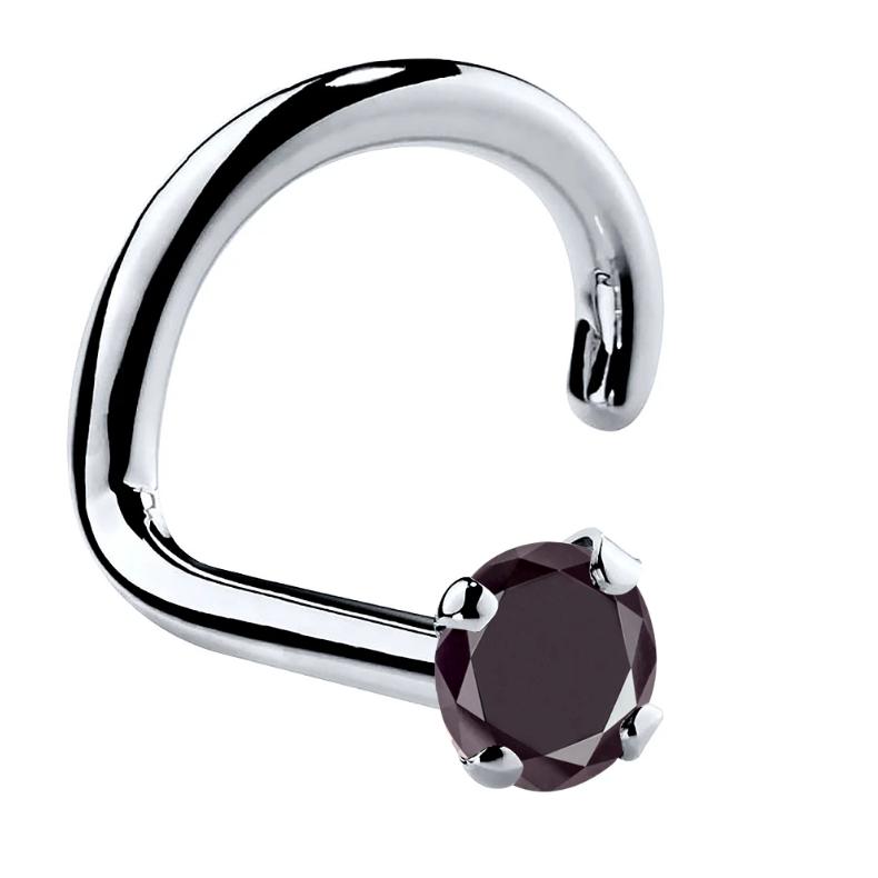 Black Diamond Prong 14K Gold Nose Ring