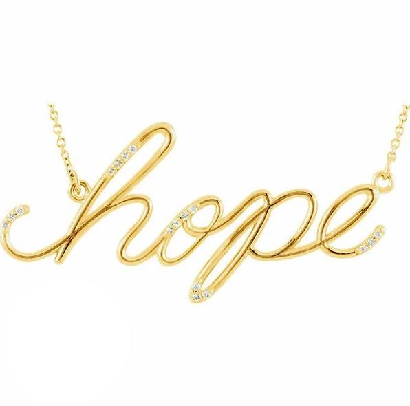 "Diamond ""Hope"" 14K Gold Pendant Necklace"