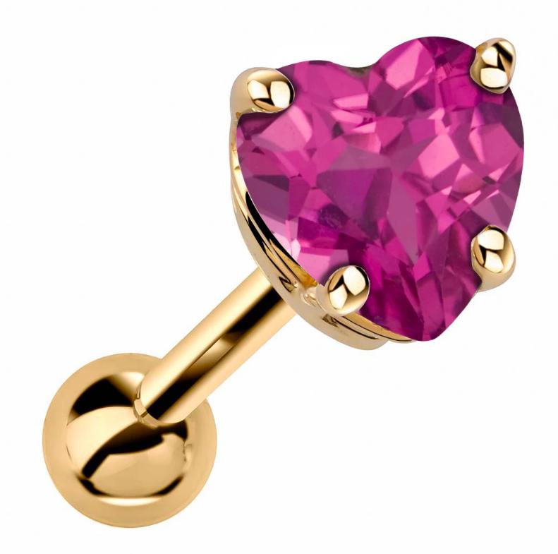 Heart Shaped Genuine Birthstone 14k Gold Cartilage Earring