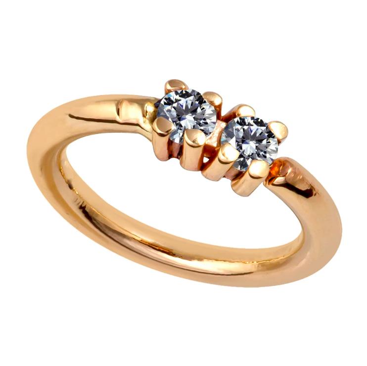 Two Diamonds Side-Set Seamless Ring Hoop