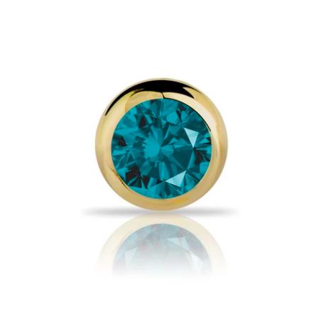 1.5mm Blue Diamond Bezel Set 14K Gold Nose Ring