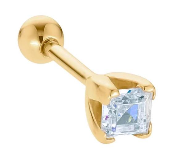 .10ct Princess Cut Diamond 14k Gold Cartilage Stud Earring