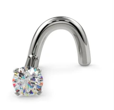 2mm Petite Diamond Prong Nose Ring Stud