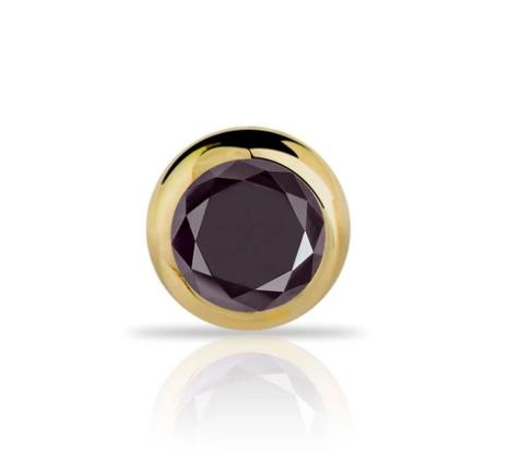 Black Diamond Bezel 14k Gold Nose Ring Stud