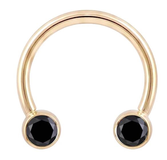 Black Diamond Round Bezel 14K Gold Circular Barbell