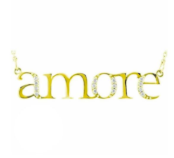 "Diamond ""Amore"" 14K Gold Pendant Necklace"