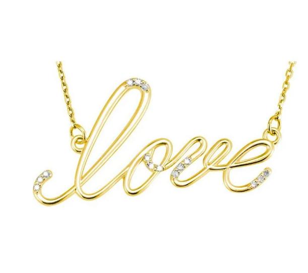 "Diamond ""Love"" 14K Gold Pendant Necklace"