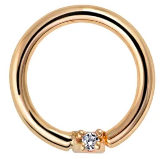 Diamond Seamless Ring Hoop 14K Gold or Platinum